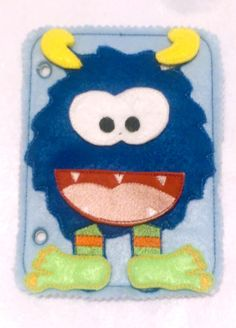 Blue build a monster quiet book page educational game busy bags quiet book