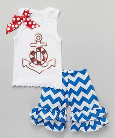 Red & White Anchor Tank & Ruffle Shorts - Infant, Toddler & Girls by Beary Basics #zulily #zulilyfinds