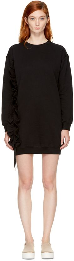 MSGM: Black Ruffle Sweatshirt Dress | SSENSE