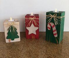 Christmas Blocks, Christmas Mood, Rustic Christmas, Xmas, Christmas Candles, Christmas Decorations, Battery Operated Tea Lights, Candle Set, Valentines