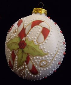 Candy Cane and Holly Christmas Ornament - Handmade Porcelain Collectible - Robin Harley Porcelain Artist - 2011. $8.50, via Etsy.