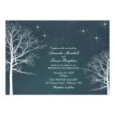 Rustic Winter Wedding Snow and Trees on Teal Invitation