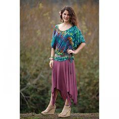 Jayli Imports, Inc. - Viscose Triangle Cut Midi Skirt with Elastic Waist