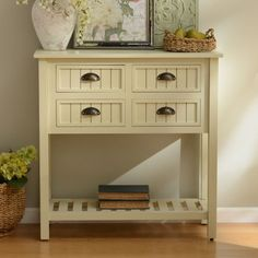 149.99 - Buttermilk Beadboard 4-Drawer Console Table | Kirklands - http://www.kirklands.com/product/Furniture/Living-Room-Furniture/Console-Tables/Buttermilk-Beadboard-4-Drawer-Console-Table/pc/2285/c/3058/sc/2610/166538.uts