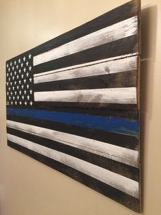 Thin Blue Line Pallet Flag rustic reclaimed wood by HippieHoundUSA
