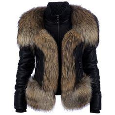 PHILIPP PLEIN lamb leather fur jacket ($6,105) ❤ liked on Polyvore