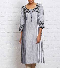 Black and White Handwoven Ikat Cotton Kurta