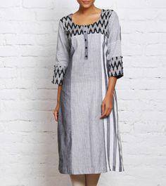 Black and White Handwoven Ikat Cotton Kurta