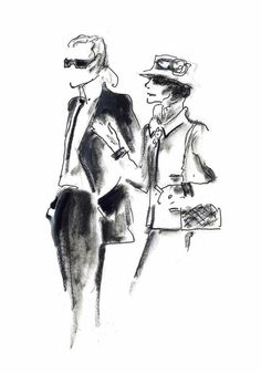 An Imaginary Meeting Between Coco Chanel and Karl Lagerfeld. Original drawing by Karl Lagerfeld. Illustration Mode, Fashion Illustration Sketches, Fashion Sketches, Drawing Fashion, Karl Lagerfeld, Gabrielle Bonheur Chanel, Estilo Coco Chanel, Moda Chanel, Chanel Chanel