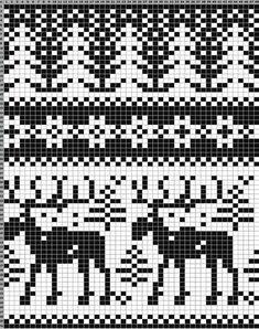 Схемы жаккардовых узоров: олени и лоси Fair Isle Knitting Patterns, Knitting Charts, Knitting Yarn, Hand Knitting, Knitting Machine, Vintage Knitting, Embroidery Patterns Free, Cross Stitch Patterns, Crochet Patterns