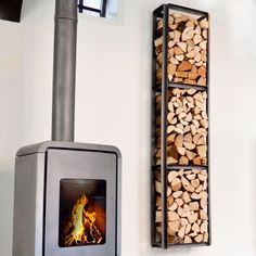Modular Firewood Storage Solutions by Daddys Brand Firewood Holder, Firewood Storage, Farmhouse Fireplace, Home Fireplace, Wood Burner, Diy Bedroom Decor, Home Decor, Wall Shelves, Stove