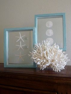 {Coastal Decor} Blue beach shell frames.