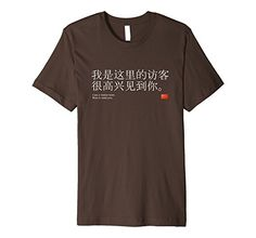 Mens Chinese I'm a visitor here. Nice to meet you. T-shirt XL Brown