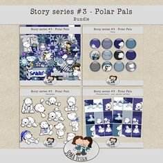 Story Series - Polar Pals Bundle The Polar Pals is the third part of our Story series. Series 3, Digital Scrapbooking, Whimsical, How To Draw Hands, Frame, Cards, Kit, Shop, Design