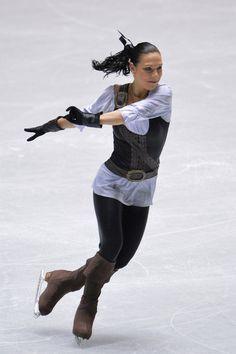 Alena Leonova of Russia short program  2013/2014 NHK Trophy -brown Figure Skating / Ice Skating dress inspiration for Sk8 Gr8 Designs