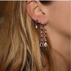 Hoop earrings with tiny charms. Hoops chain drop earrings ear piercing jewelry charm hoop earrings