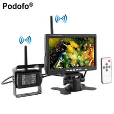 """Podofo Built-in Wireless Ir Night Vision Rear View Back up Camera System + 7"""" HD Monitor for RV Truck Trailer Bus"""