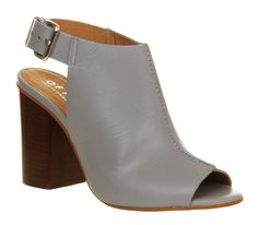 Office Garnet Cuff Block Heel Grey Leather - Mid Heels