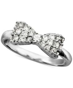 City by City Silver-Tone Cubic Zirconia Bow-Shaped Ring (1/3 ct. t.w.) | macys.com