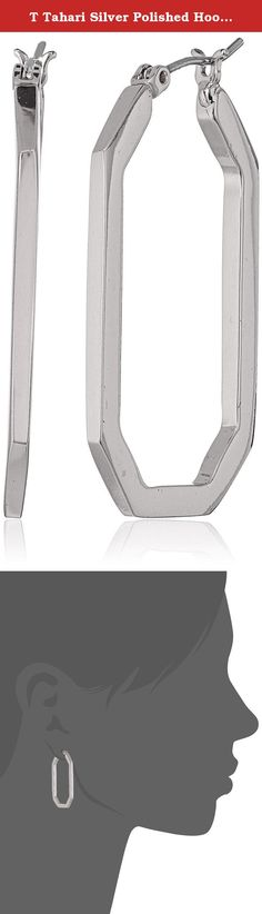 T Tahari Silver Polished Hoop Earrings. Made in China. silver rectangular shaped snap hoop. Imported.