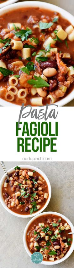 Pasta Fagioli Recipe - If you love the Olive Garden Pasta Fagioli recipe, then I think you'll love this homemade version as much or more! Ready in 30 minutes! // addapinch.com