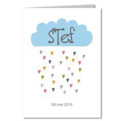 Geboortekaartje, wolk, jongen, Stef, blauw, hartjes