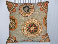 Orange Suzani  Pillow Cover Decorative by CodyandCooperDesigns, $49.00