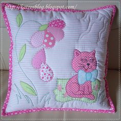 handmade by Katroš. Applique Cushions, Patchwork Cushion, Sewing Pillows, Quilted Pillow, Applique Quilts, Cute Pillows, Diy Pillows, Decorative Pillows, Throw Pillows