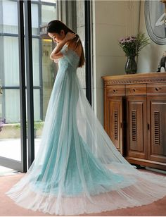 Blue Lace Tulle Evening Dress Off The Shoulder Prom Dress Lace Wedding Dress Formal Special Occasion on Luulla