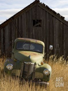 Abandoned Pick-Up Truck in Front of an Old Shed, Marysville, Montana Photographic Print
