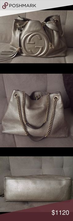 Gucci soho chain bag 👜❤️ 100% authentic Gucci Gold metallic soho bag with gold chain and tassel. Great condition. No stains. No wear and tear. Selling because I never wear. Has 2 cellphone pockets and a zipper compartment. Comes with original  dust bag. Pretty clean on the inside. Medium size. Guarantee authentic or money back, no longer have a receipt...... No trades Gucci Bags Hobos