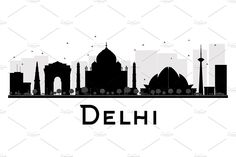 Delhi City skyline silhouette by Booblgum on Delhi City, Real Estate Icons, Desi Quotes, Black And White City, Skyline Silhouette, Business Travel, Graphic Illustration, Tourism, Architecture
