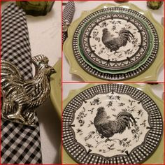 red black and white rooster dishes | These are my newest Rooster dishes. Love 'em. Gotta have those Rooster ...