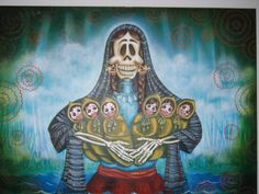 My Abuelita's stories to me, skull face mom, holding six babies, Chicano, Creepy Stories, Flower Skull, Mexican Art, Halloween Costumes, Halloween Makeup, Aurora Sleeping Beauty, Painting, Folklore