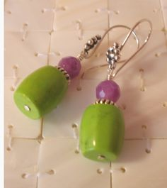 Amethyst and Apple Turquoise Earrings with Bali by MagnoliaStudio, $19.00