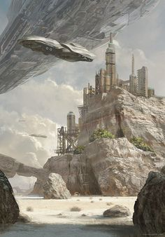 Tanker, by Geoffroy Thoorens. Futuristic city on mountains and a huge space ship flying over it. Makes me think of space battles n stuff