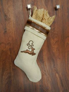 Whimsical ivory burlap Christmas stocking by RedeemedCustomDesign