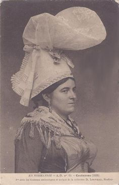 - French folk costumes - traditional French jewellery and costume from Coutance French regional jewellery, costume and coiffe, Normandy Turbans, Monaco, French Costume, Norwegian Style, French Outfit, Culture Clothing, Folk Costume, Antique Photos, Belle Epoque