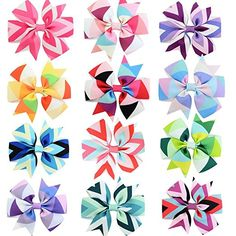 GBATERI 12 Pack Boutique Baby Girls 3 inches Grosgrain Ribbon PinWheel Hair Bows Clips Alligator Clip For Baby Girls Teens Toddlers Newborn Kids Children Gift Set