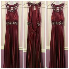 "Pleated Formal Gown Beautiful burgundy pleated floor length formal dress. Has iridescent stones and beading on neck and waist. I am 5'7"", 26"" waist, 37"" hips, 30D chest and had no alterations done. Only worn for a few hours. Perfect for prom or a military ball! Dresses"