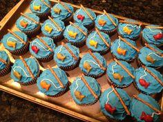 How to Make a Campfire Birthday Cake (With Bonus Fishing Cupcakes 2019 campfire cupcakes Fish Cake Birthday, Birthday Cake For Husband, First Birthday Cupcakes, Boy Birthday, Birthday Ideas, Birthday Recipes, Birthday Parties, Happy Birthday, Campfire Cupcakes