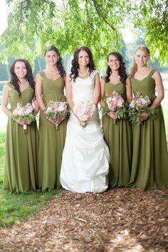 Olive Green Bridesmaid Dresses With Boots
