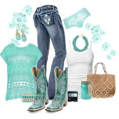 A fashion look from June 2014 featuring James Perse tops, Topshop panties and Charlotte Russe bracelets. Browse and shop related looks. Cowgirl Outfits, Cowgirl Style, Cowgirl Boots, Gypsy Cowgirl, Cowgirl Fashion, Country Look, Country Girl Style, My Style, Country Style Clothes