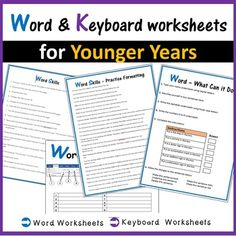 Microsoft Word & Keyboard Worksheets Computer Lessons, Technology Lessons, Computer Lab, Physical Education Games, Health Education, School Computers, Library Lessons, Team Building Activities, Learning Spaces