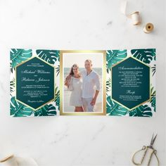 Teal Green Tropical Palm Monstera Leaves Wedding Tri-Fold Invitation Making Wedding Invitations, Beautiful Wedding Invitations, Zazzle Invitations, Invites, Letter Folding, Monstera Leaves, Tri Fold, Teal Green