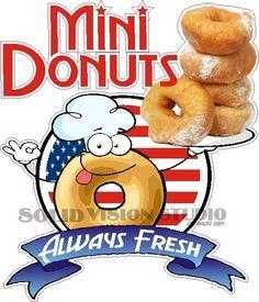 "24"" Mini Donut Concession Trailer Fast Food Truck Restaurant Vinyl Sign Decal Glennora, Solid Vision Studio (989) 482-1044"