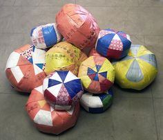 Poufs by Carol Sogard from reclaimed and heat fused plastic bags