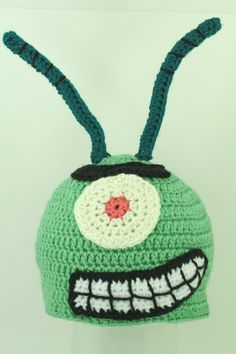 Awesomeness! Sheldon Plankton Hat Crocheted Crochet via Etsy.