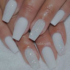 A manicure is a cosmetic elegance therapy for the finger nails and hands. A manicure could deal with just the hands, just the nails, or Fancy Nails, Trendy Nails, Hair And Nails, My Nails, Diamond Nails, Diamond Glitter, White Nails With Glitter, Matte White Nails, Nails With Diamonds