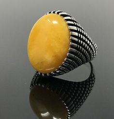 Solid Sterling Silver Yemeni Agate (Aqeeq) Men's Ring -US Seller- Wedding Rings For Women, Rings For Men, Pentagram Necklace, Men's Jewelry Rings, Yellow Rings, Sterling Silver Mens Rings, Bronze Ring, Amber Ring, Necklace Box